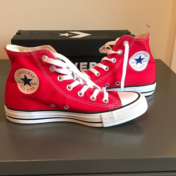 NWT All Star Bright Red Converse High Top Sneakers Boutique
